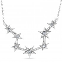 Diamond Aquarius Zodiac Constellation Star Necklace 14k White Gold (0.09ct)