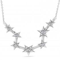 Diamond Aquarius Zodiac Star Pendant Necklace 14k White Gold (0.09ct)