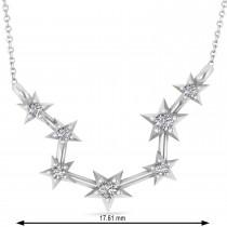 Diamond Aquarius Zodiac Constellation Star Necklace 14k White Gold (0.09ct)