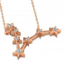 Diamond Pisces Zodiac Constellation Star Necklace 14k Rose Gold (0.10 ct)