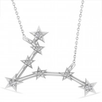 Diamond Pisces Zodiac Constellation Star Necklace 14k White Gold (0.10 ct)