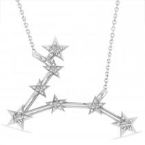 Diamond Pisces Zodiac Star Pendant Necklace 14k White Gold (0.10 ct)