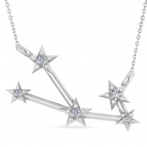 Diamond Taurus Zodiac Constellation Star Necklace 14k White Gold (0.07ct)