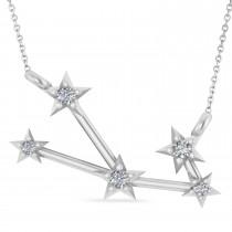 Diamond Taurus Zodiac Star Pendant Necklace 14k White Gold (0.07ct)