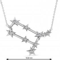 Diamond Gemini Zodiac Constellation Star Necklace 14k White Gold (0.12ct)
