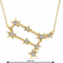 Diamond Gemini Zodiac Constellation Star Necklace 14k Yellow Gold (0.12ct)