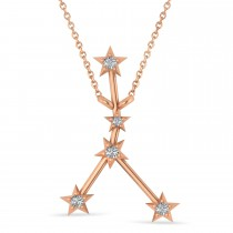 Diamond Cancer Zodiac Constellation Star Necklace 14k Rose Gold (0.09ct)