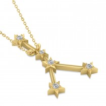 Diamond Cancer Zodiac Constellation Star Necklace 14k Yellow Gold (0.09ct)