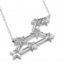 Diamond Leo Zodiac Constellation Star Necklace 14k White Gold (0.10ct)