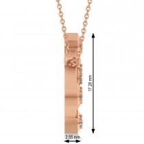 Diamond Virgo Zodiac Constellation Star Necklace 14k Rose Gold (0.11ct)