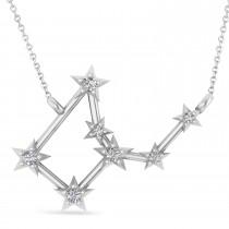 Diamond Virgo Zodiac Constellation Star Necklace 14k White Gold (0.11ct)