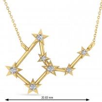 Diamond Virgo Zodiac Constellation Star Necklace 14k Yellow Gold (0.11ct)