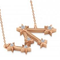 Diamond Libra Zodiac Constellation Star Necklace 14k Rose Gold (0.08ct)