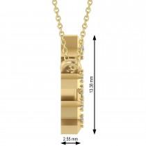 Diamond Libra Zodiac Constellation Star Necklace 14k Yellow Gold (0.08ct)