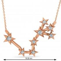 Diamond Scorpio Zodiac Constellation Star Necklace 14k Rose Gold (0.10ct)