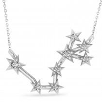Diamond Scorpio Zodiac Star Pendant Necklace 14k White Gold (0.10ct)