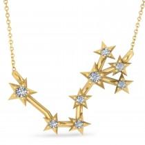 Diamond Scorpio Zodiac Constellation Star Necklace 14k Yellow Gold (0.10ct)