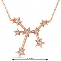 Diamond Sagittarius Zodiac Constellation Star Necklace 14k Rose Gold (0.11ct)