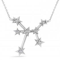 Diamond Sagittarius Zodiac Constellation Star Necklace 14k White Gold (0.11ct)