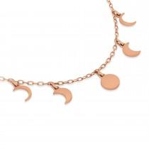 Multi-Moon Phase Pendant Necklace 14k Rose Gold