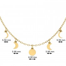 Multi-Moon Phase Pendant Necklace 14k Yellow Gold