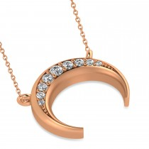 Diamond Crescent Moon Horn Pendant 14k Rose Gold (0.17ct)