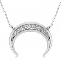Diamond Crescent Moon Horn Pendant 14k White Gold (0.17ct)