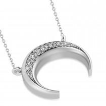 Diamond Crescent Moon Horn Pendant 14k White Gold (0.17ct)