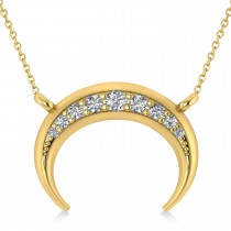 Diamond Crescent Moon Horn Pendant 14k Yellow Gold (0.17ct)