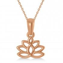 Lotus Flower Pendant Necklace 14k Rose Gold