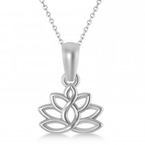 Lotus Flower Pendant Necklace 14k White Gold
