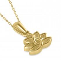 Lotus Flower Pendant Necklace 14k Yellow Gold
