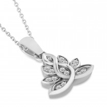 Diamond Lotus Flower Pendant Necklace 14k White Gold (0.15ct)