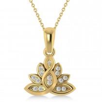 Diamond Lotus Flower Pendant Necklace 14k Yellow Gold (0.15ct)