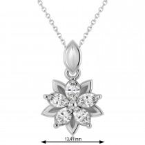 Diamond Double Layered 5-Petal Necklace 14k White Gold (1.00ct)