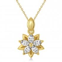 Diamond Double Layered 5-Petal Necklace 14k Yellow Gold (1.00ct)