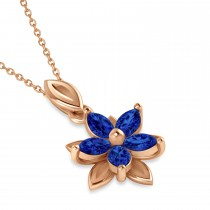 Blue Sapphire Double Layered 5-Petal Necklace 14k Rose Gold (1.20ct)