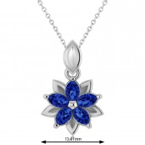 Blue Sapphire Double Layered 5-Petal Necklace 14k White Gold (1.20ct)