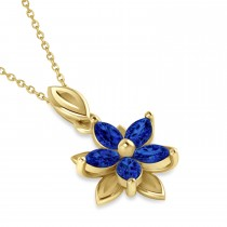 Blue Sapphire Double Layered 5-Petal Necklace 14k Yellow Gold (1.20ct)