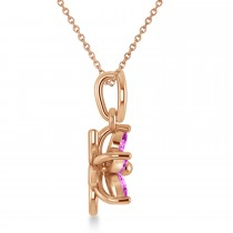 Pink Sapphire Double Layered 5-Petal Necklace 14k Rose Gold (1.20ct)