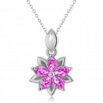 Pink Sapphire Double Layered 5-Petal Necklace 14k White Gold (1.20ct)