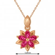 Ruby Double Layered 5-Petal Necklace 14k Rose Gold (1.20ct)