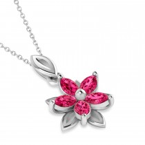 Ruby Double Layered 5-Petal Necklace 14k White Gold (1.20ct)