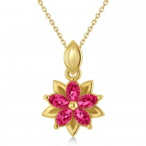 Ruby Double Layered 5-Petal Necklace 14k Yellow Gold (1.20ct)
