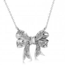 Diamond Ribbon Bow Pendant/Necklace 14k White Gold (0.23ct)