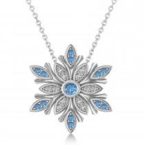 Diamond & Diamond Snowflake Necklace 14k White Gold (0.29ct)