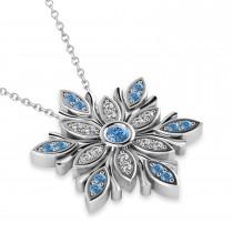 Diamond Snowflake Pendant Necklace 14k White Gold (0.29ct)
