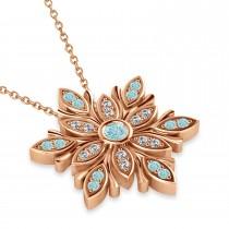 Diamond & Aquamarines Snowflake Necklace 14k Rose Gold (0.29ct)