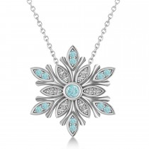 Diamond & Aquamarines Snowflake Necklace 14k White Gold (0.29ct)