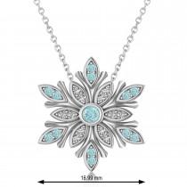 Diamond & Aquamarines Snowflake Necklace 14k White Gold (0.29ct)